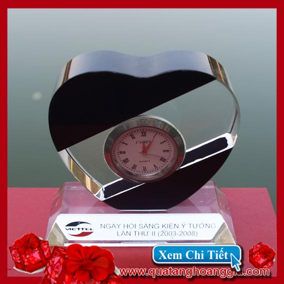 Đồng hồ pha lê hình trái tim loại nhỏ - Đồng hồ pha lê 1