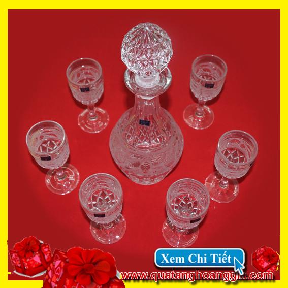 Quà biếu tết 9 - Bộ bình ly uống rượu pha lê mài cao cấp